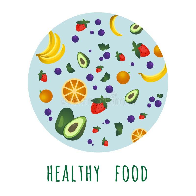 Conceito do alimento biol?gico no c?rculo ilustração do vetor