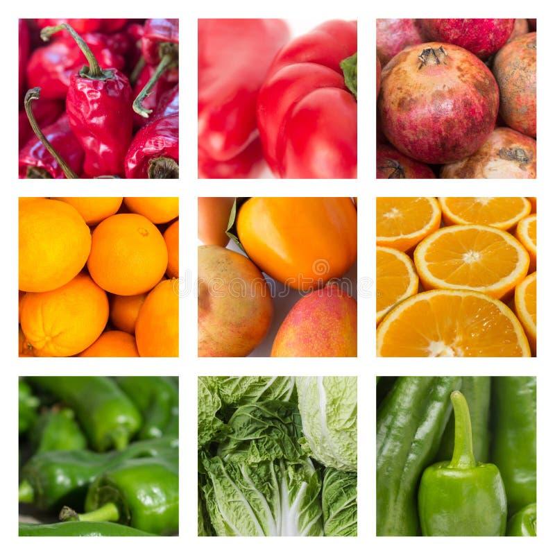 Conceito do alimento - colagem de várias frutas e legumes fotos de stock