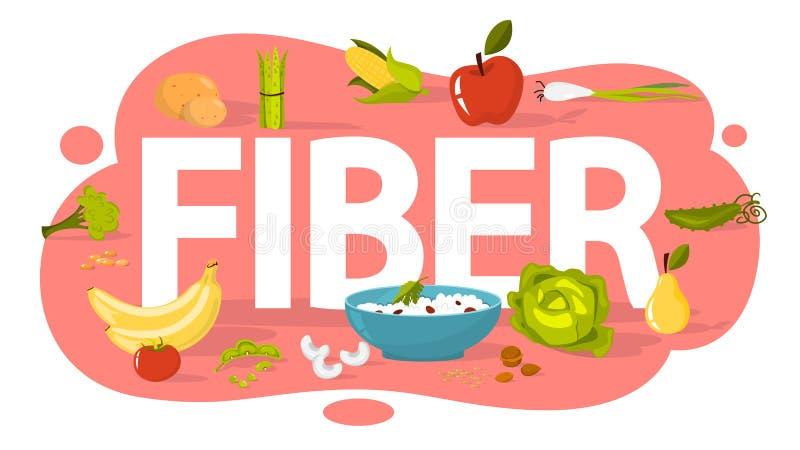 Conceito do alimento da fibra Ideia da nutrição saudável ilustração do vetor