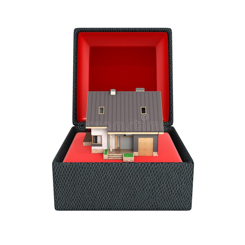 Conceito do alojamento como uma casa moderna do presente com uma garagem na caixa de presente com o material vermelho isolado no  ilustração stock