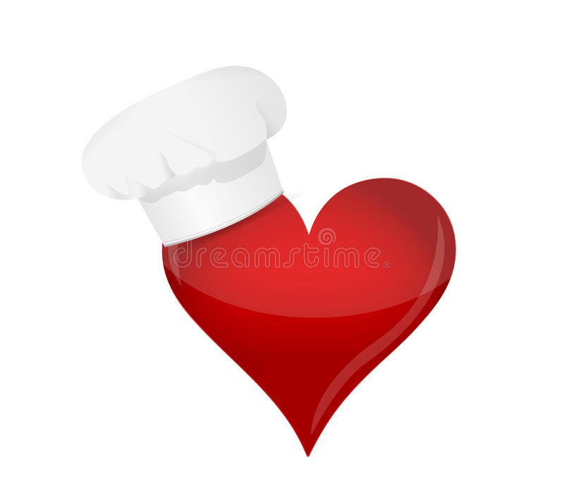 Conceito do amante do alimento. Chapéu do coração e do cozinheiro chefe. ilustração royalty free