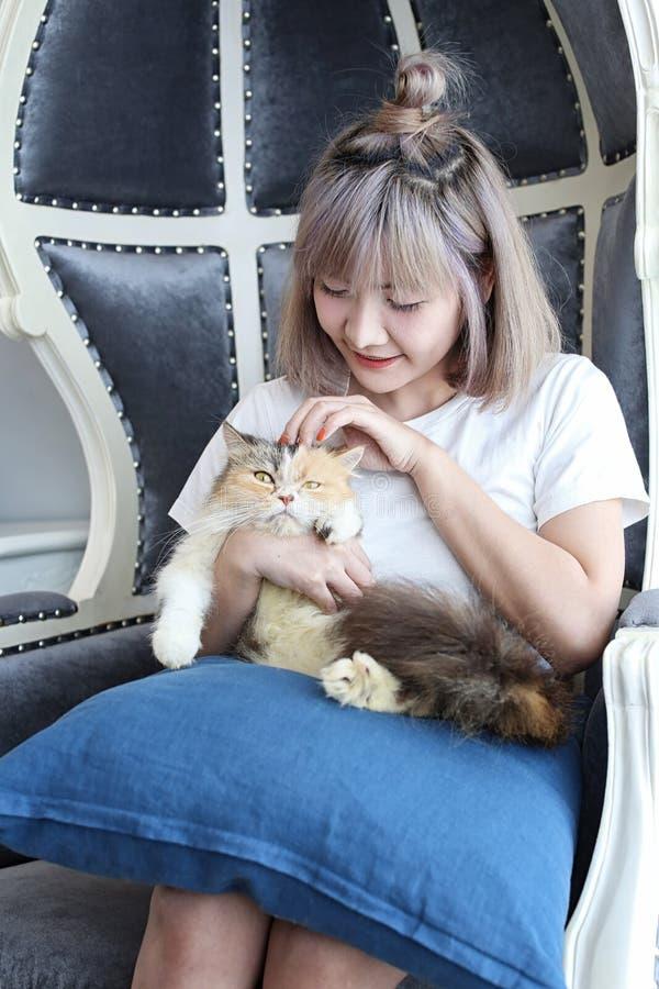 Conceito do amante do gato Mulher asiática bonita que senta-se no sofá e que leva um gato em sua mão com amor Menina bonito e gat fotografia de stock