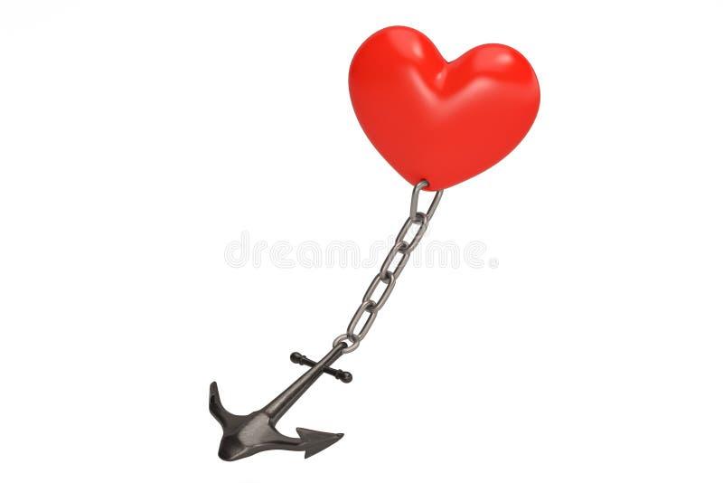 Conceito do amor como um coração vermelho em uma âncora pesada ilustração 3D ilustração royalty free