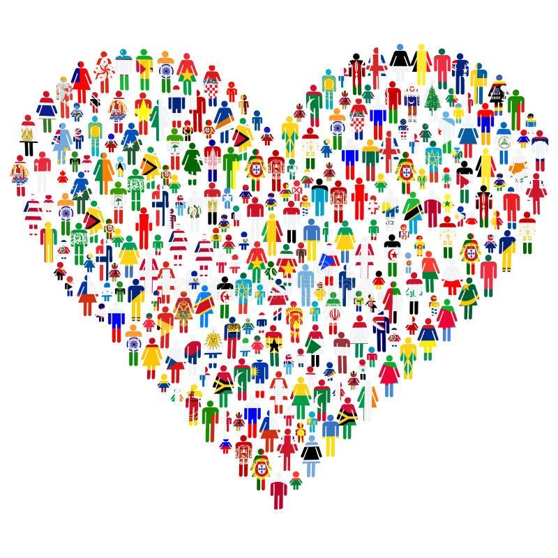 Conceito do amor; coração feito dos povos. ilustração royalty free