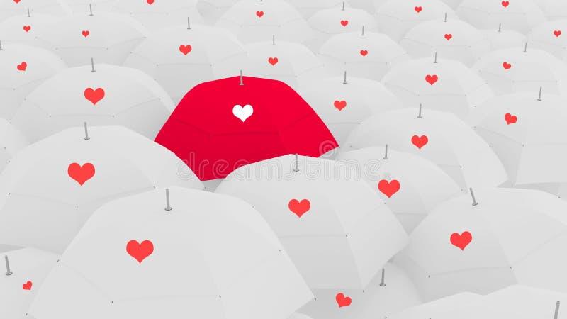 conceito do amor 3d, mostrando o guarda-chuva original do amor, ilustração stock