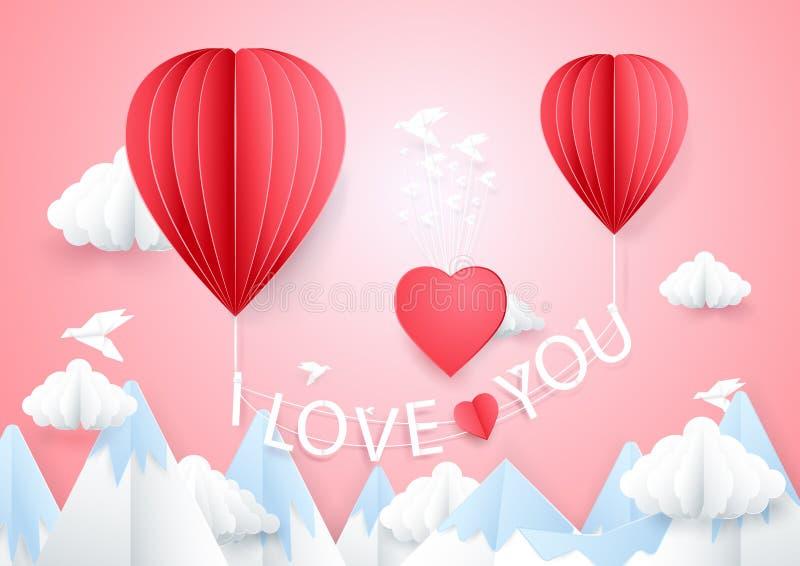 Conceito do amor Dois balões de ar quente que voam com eu te amo palavras ilustração do vetor