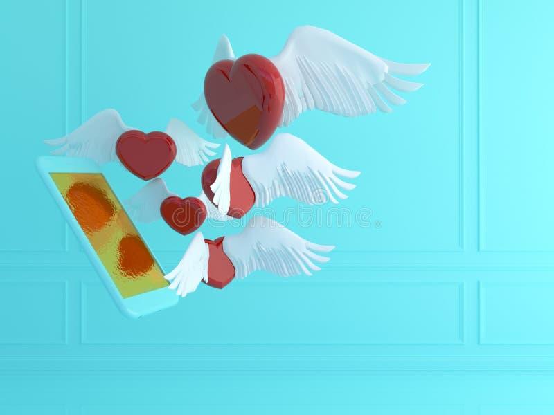 Conceito do amor e da tecnologia Cupido, coração vermelho e telefone esperto Rosa vermelha rendição 3d ilustração do vetor