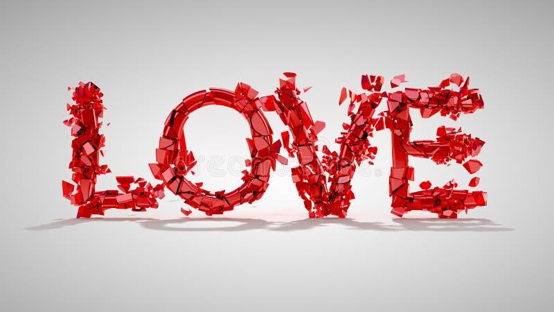 Conceito do amor e do divórcio - palavra quebrada vermelha ilustração stock