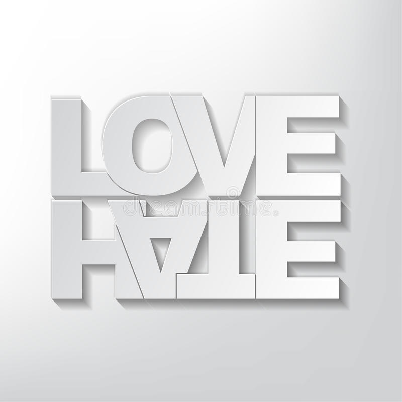 Conceito do amor ou do ódio ilustração royalty free