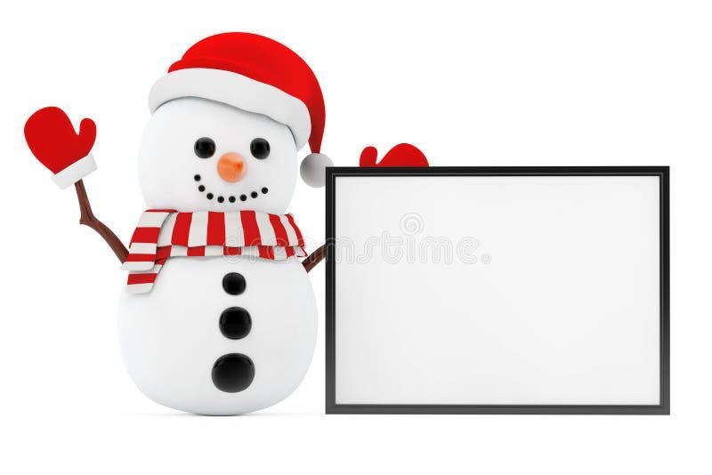 Conceito do ano novo Boneco de neve com a bandeira vazia com espaço da cópia para ilustração royalty free