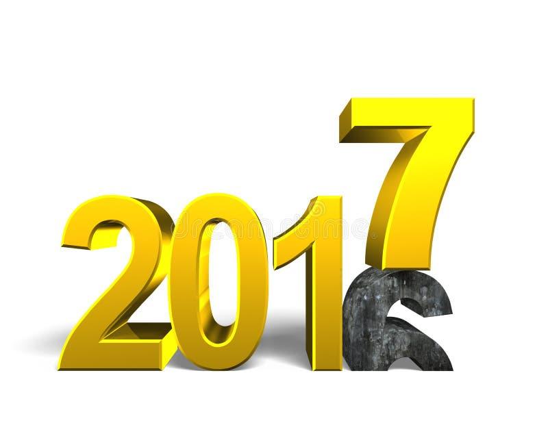 2016 a 2017, conceito do ano novo feliz ilustração do vetor