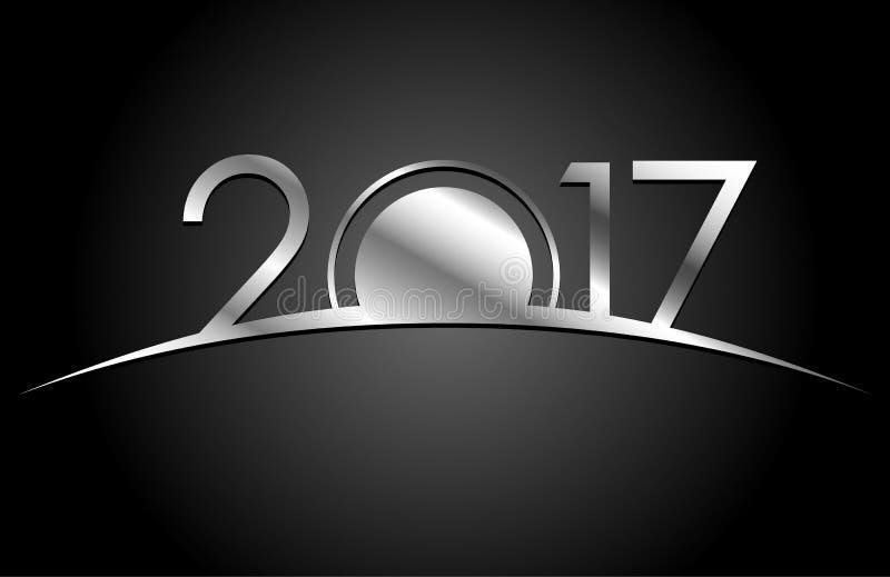 Conceito do ano novo Sinal de prata 2017 no fundo preto fotografia de stock royalty free