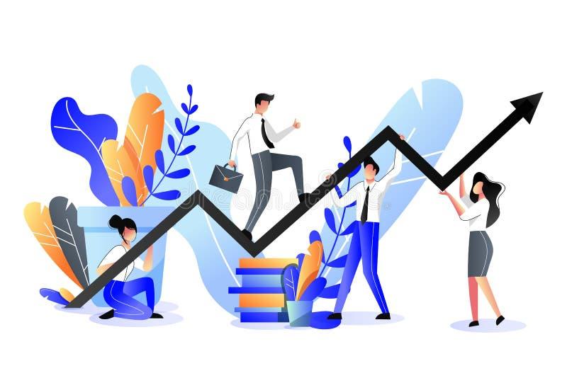 Conceito do apoio às empresas e da parceria Ilustração lisa na moda do vetor Escaladas do homem de negócios no gráfico do crescim ilustração stock