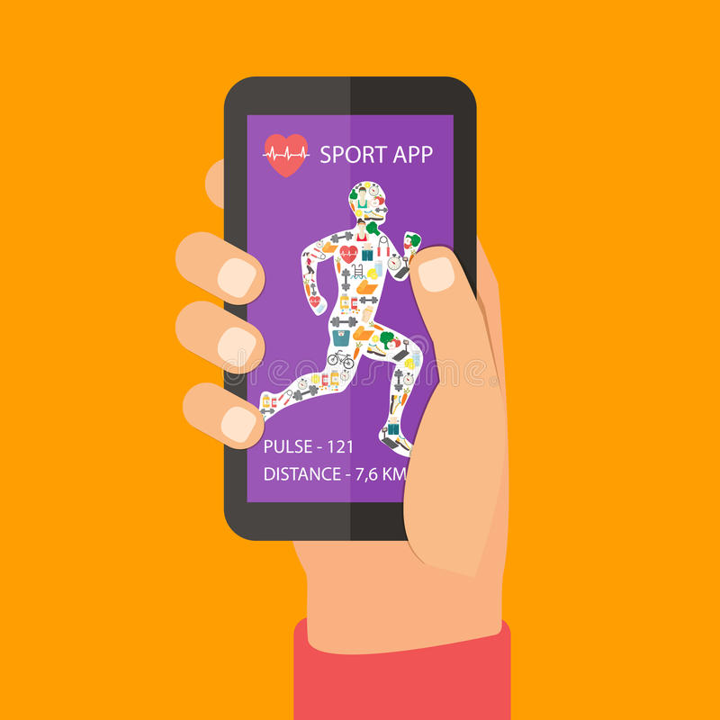 Conceito do app da aptidão do esporte no écran sensível ilustração royalty free