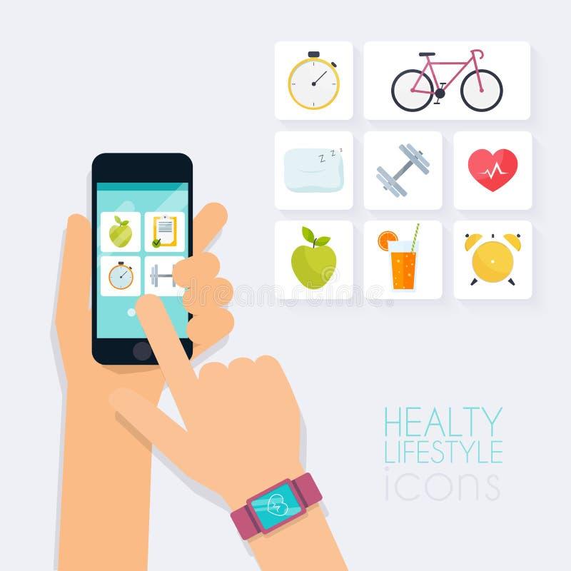 Conceito do app da aptidão no écran sensível Telefone celular e perseguidor sobre ilustração royalty free