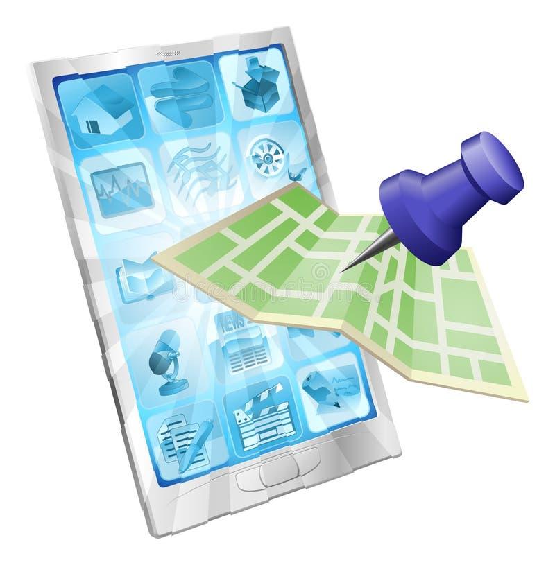 Conceito do app do mapa do telefone ilustração royalty free