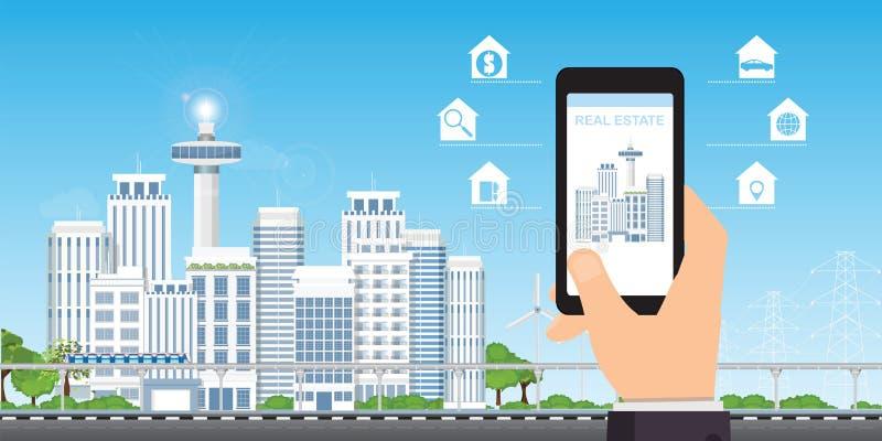 Conceito do app dos bens imobiliários em uma tela do telefone celular ilustração do vetor