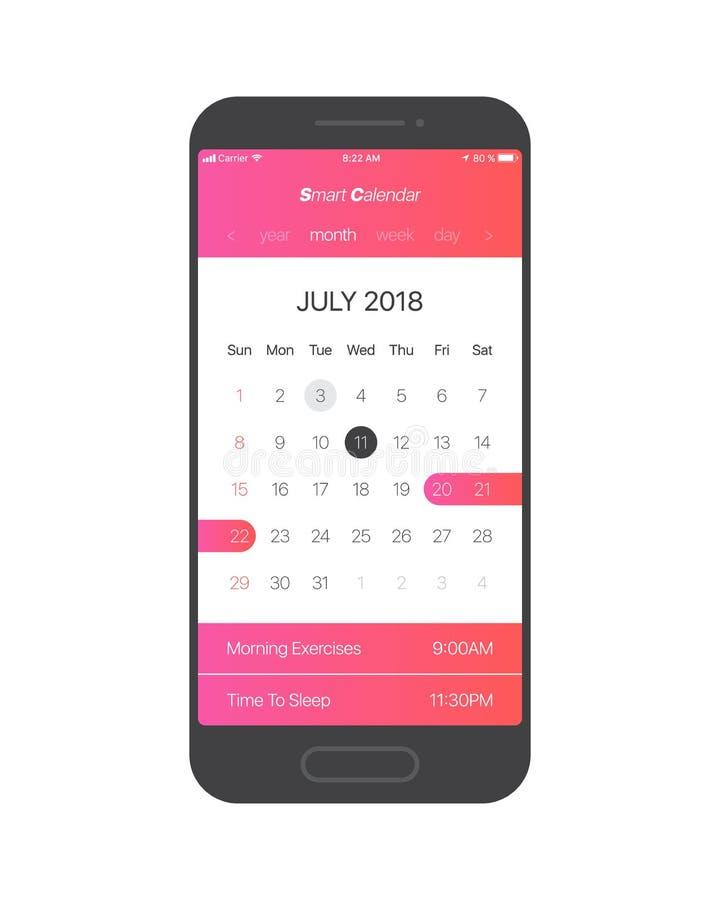 Conceito do App UI do calendário do vetor ilustração do vetor