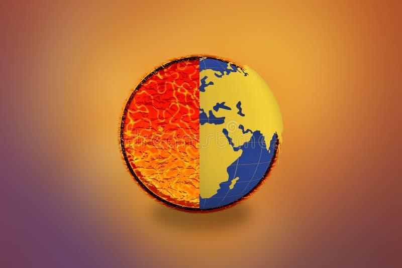 Conceito do aquecimento global - conceito do Dia da Terra 22 de julho de 2017 ilustração royalty free