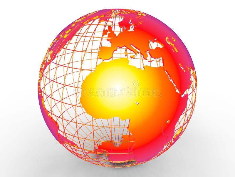 Conceito do aquecimento global de África ilustração royalty free