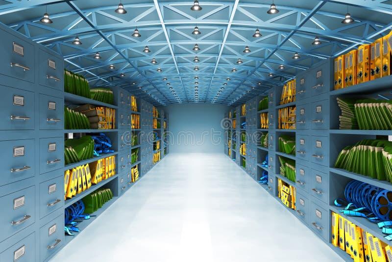 Conceito do armazém de dados e do armazenamento de informação ilustração do vetor