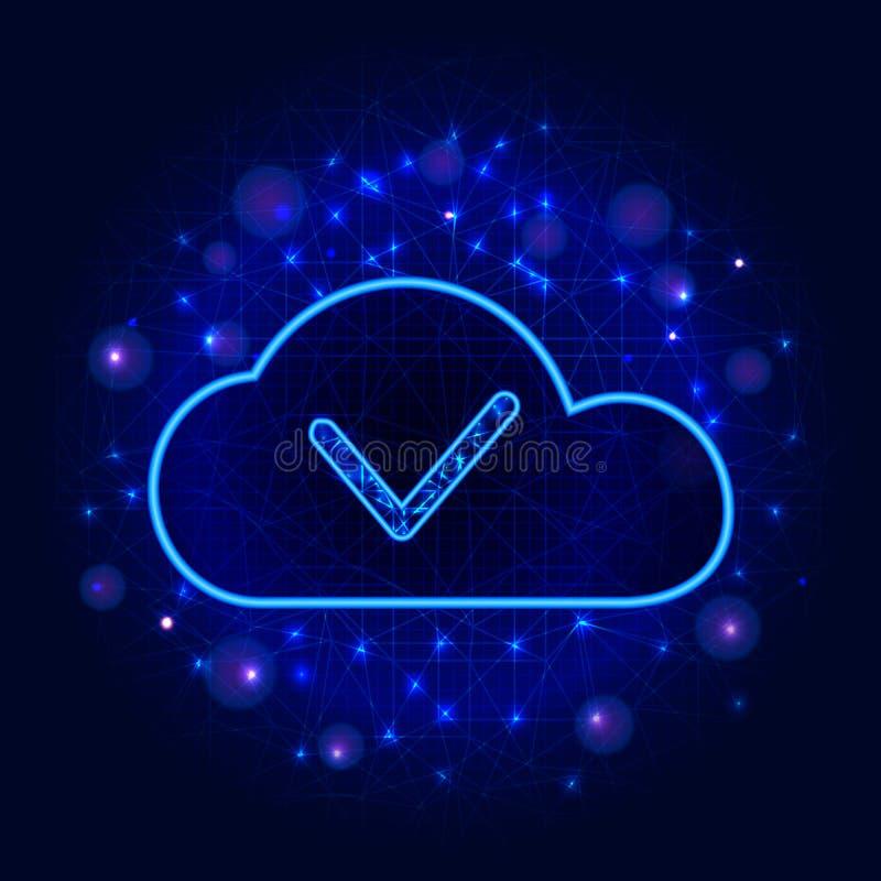 Conceito do armazenamento de dados ou da tecnologia informática da nuvem Projeto da segurança do Cyber com marca de verificação n ilustração do vetor