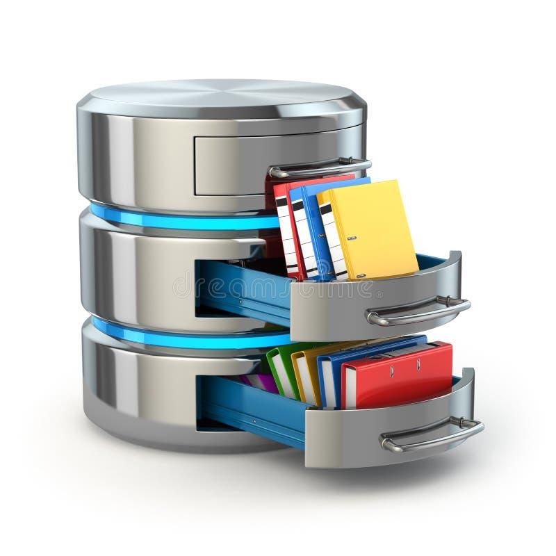 Conceito do armazenamento do base de dados Ícone do disco rígido com dobradores ilustração royalty free