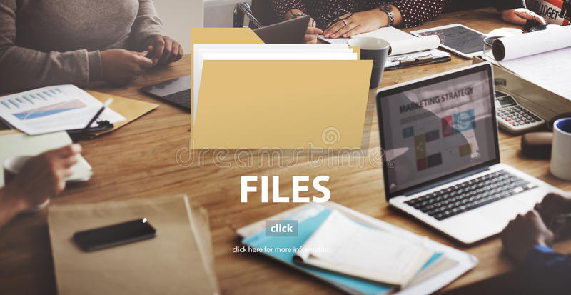 Conceito do armazenamento do original dos dados do dobrador de arquivos fotografia de stock