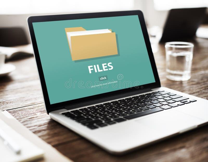 Conceito do armazenamento do original dos dados do dobrador de arquivos imagens de stock