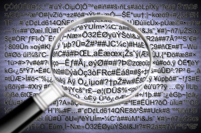 Conceito do arquivo do código secreto com lupa - o código é COM imagem de stock