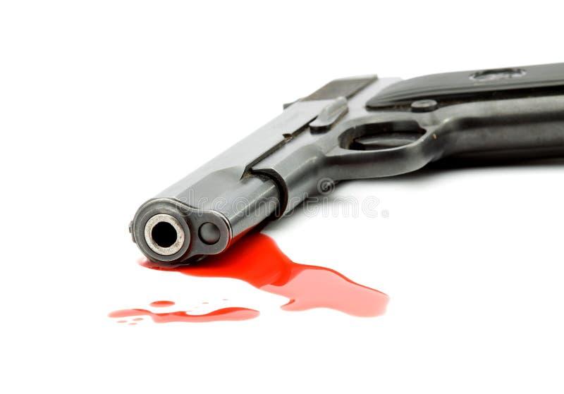 Conceito do assassinato - injetor e sangue imagem de stock