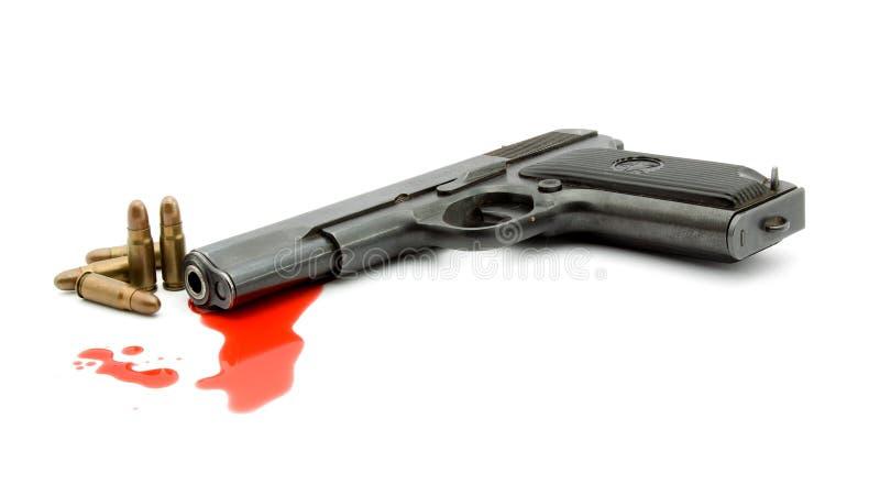 Conceito do assassinato - injetor e sangue fotografia de stock royalty free