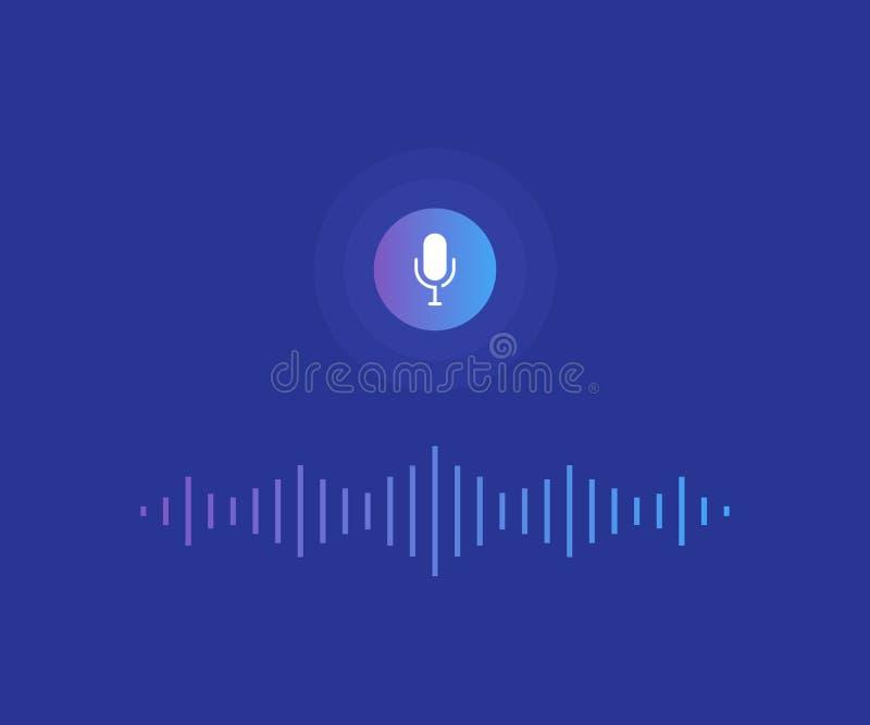Conceito do assistente pessoal e do reconhecimento de voz Botão do microfone com voz brilhante e linhas de imitação sadias ilustração do vetor