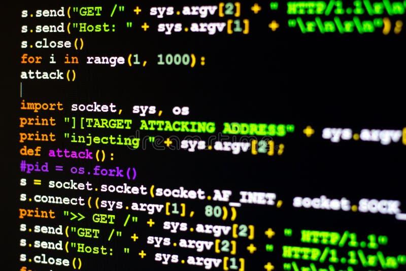 Conceito do ataque de DDOS, conceptual do código do ataque do cyber ilustração royalty free