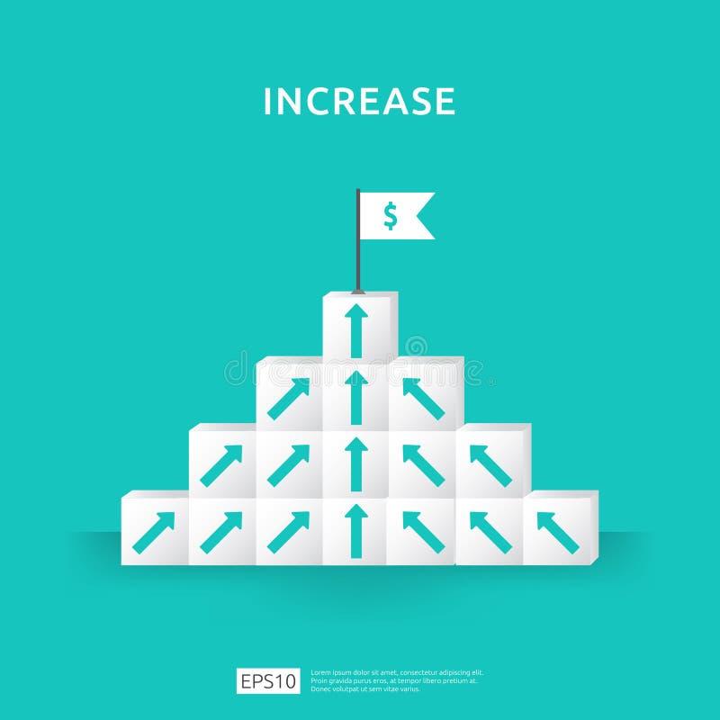 Conceito do aumento do negócio do crescimento com empilhamento do bloco escada da escada da etapa com a seta acima da ilustração  ilustração do vetor