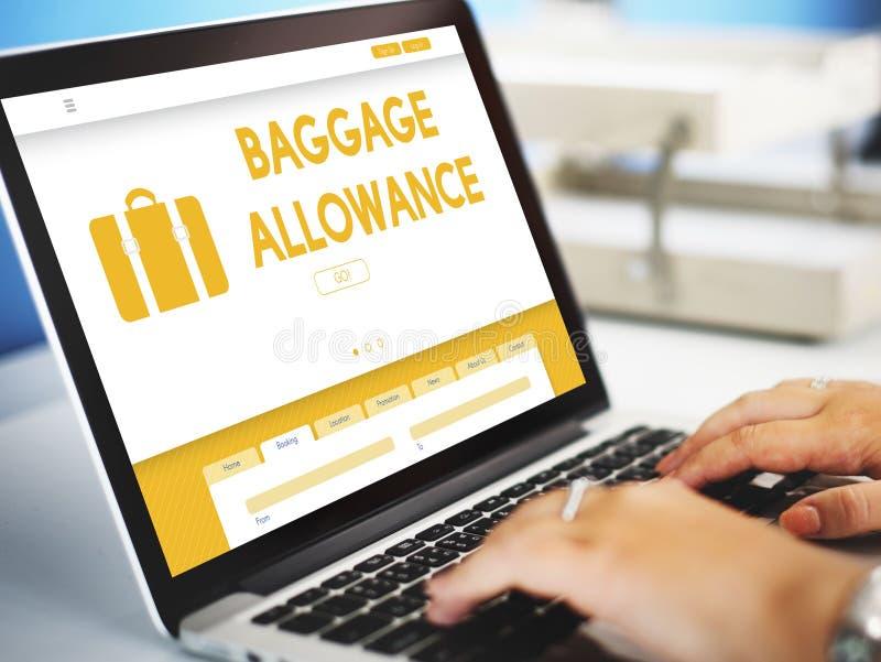 Conceito do avião comercial da permissão de bagagem da bagagem foto de stock