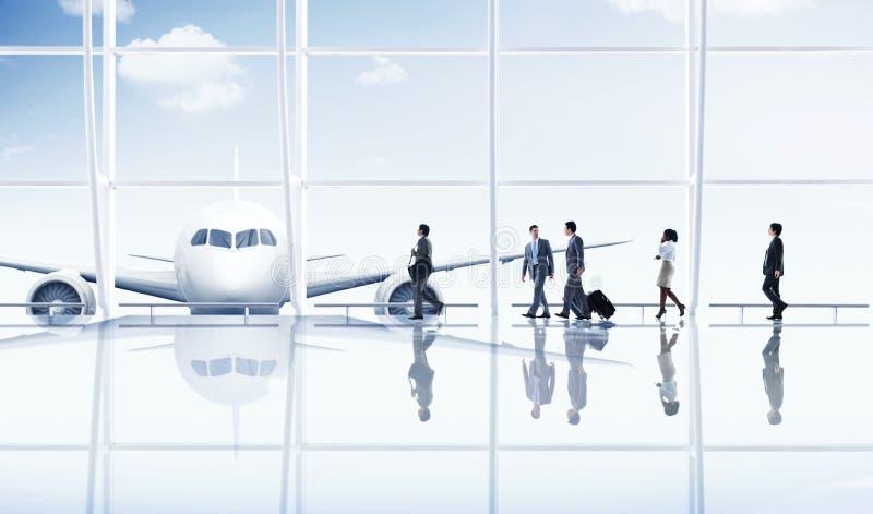 Conceito do avião do transporte da viagem de negócios do curso do aeroporto fotografia de stock