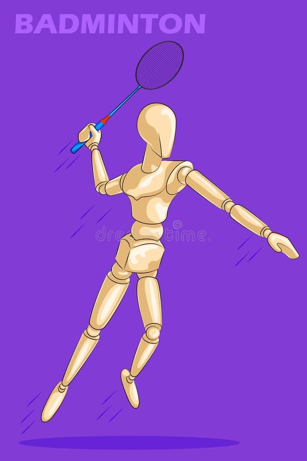 Conceito do badminton com o manequim humano de madeira ilustração royalty free