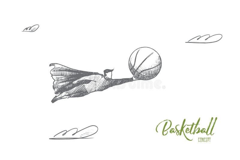 Conceito do basquetebol Vetor isolado tirado mão ilustração stock