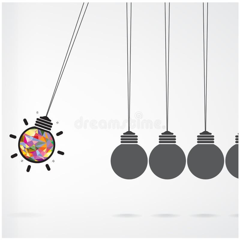 Conceito do berço de Newton no fundo, ideia criativa c da ampola ilustração do vetor