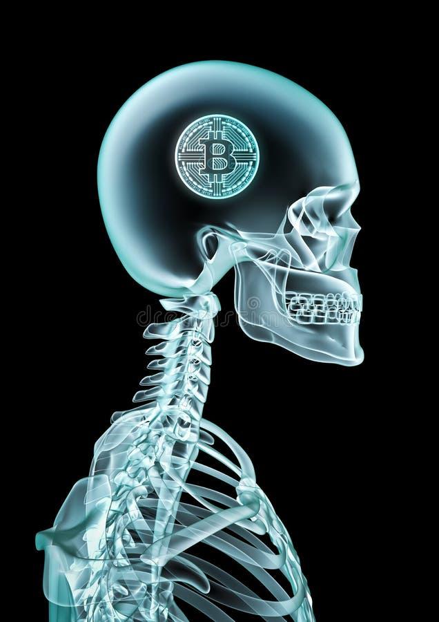 Conceito do bitcoin do raio X ilustração do vetor