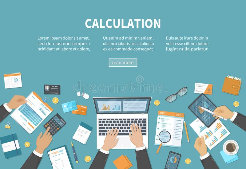 Conceito do cálculo Contabilidade, auditoria, análise de dados, relatório, contabilidade de imposto Povos no trabalho Mãos dos ho ilustração stock