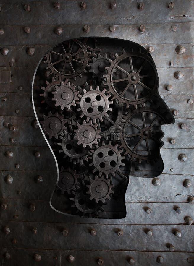 Conceito do cérebro: engrenagens e rodas denteadas do metal na cabeça fotos de stock royalty free