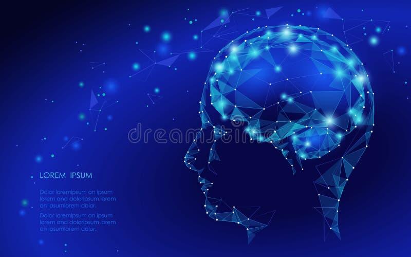 Conceito do cérebro humano ativo com o córrego do código binário Ser humano Brain Covered com queda dos números binários Da tecno ilustração do vetor