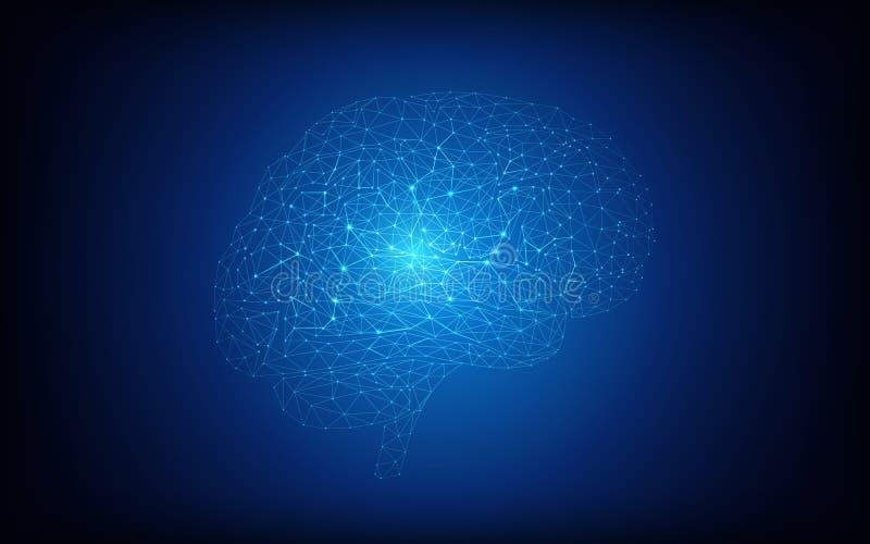 Conceito do cérebro humano e da inteligência artificial em escuro - fundo azul ilustração stock