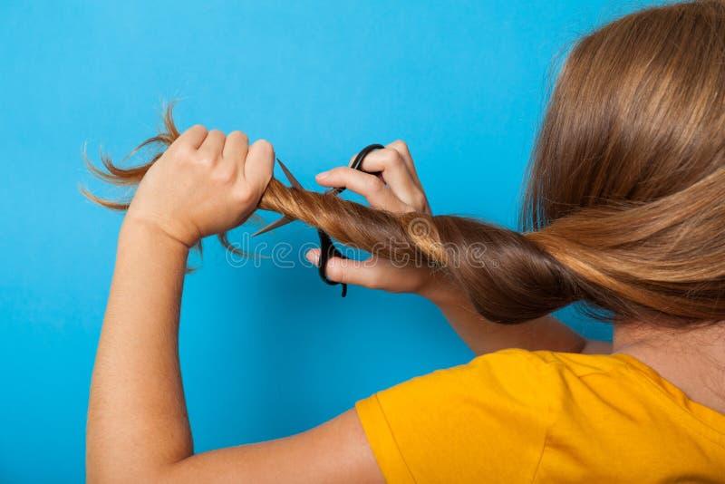 Conceito do cabelo do problema de dano Morena, tesouras, corte de cabelo imagens de stock