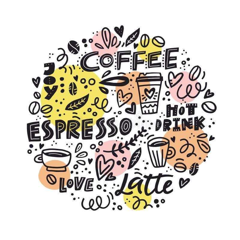 Conceito do café do círculo ilustração do vetor