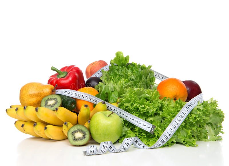 Conceito do café da manhã da perda de peso da dieta com fita métrica do gre orgânico imagens de stock royalty free