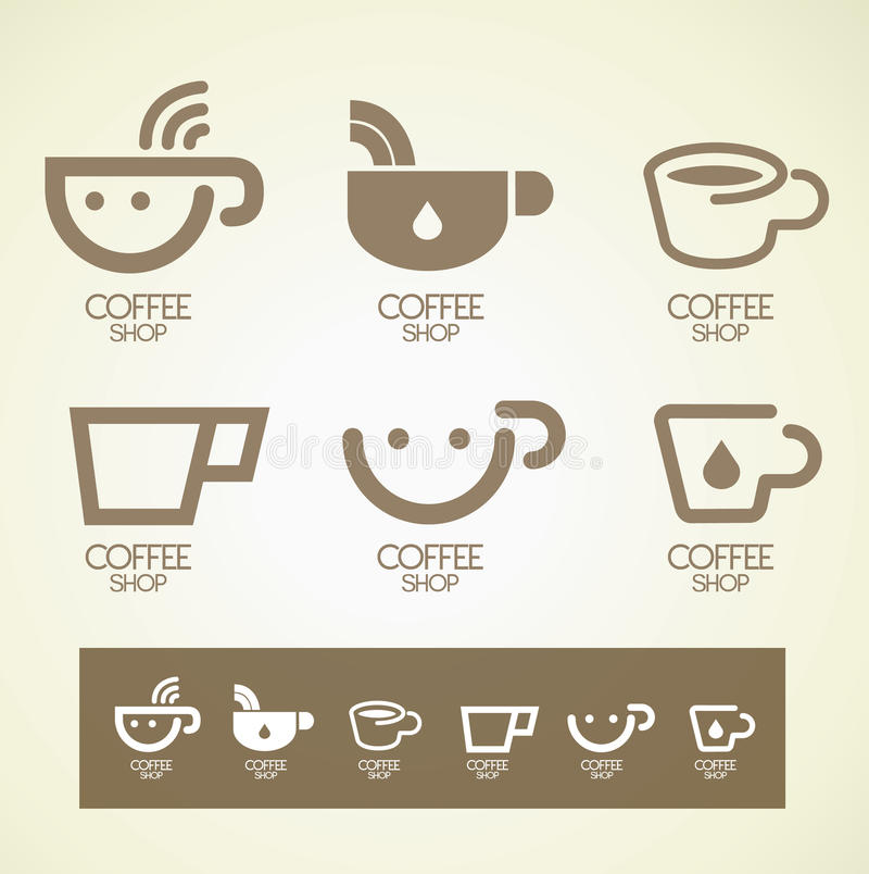 Conceito do café do projeto do logotipo e do símbolo imagem de stock royalty free
