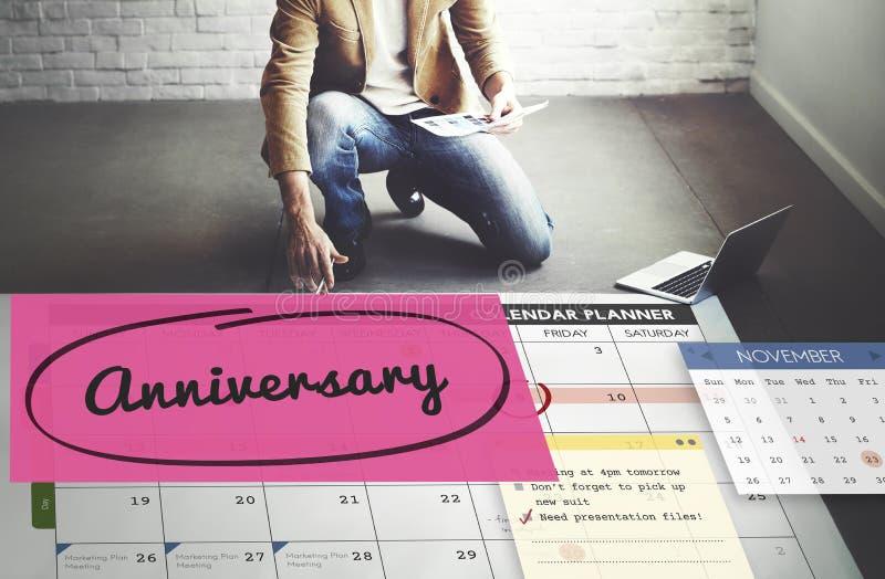 Conceito do calendário do planejador da nomeação do evento do aniversário fotos de stock royalty free